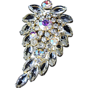 Estate RHINESTONE & Aurora Borealis BROOCH - Layered - MASSIVE Size - Brilliant Stones