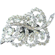 Dazzling RHINESTONE Articulated LEAF Brooch - Channel Set BAGUETTE Stones
