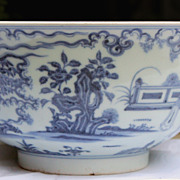 SALE Antique Chinese Blue and White Porcelain Punchbowl Kangxi Mark