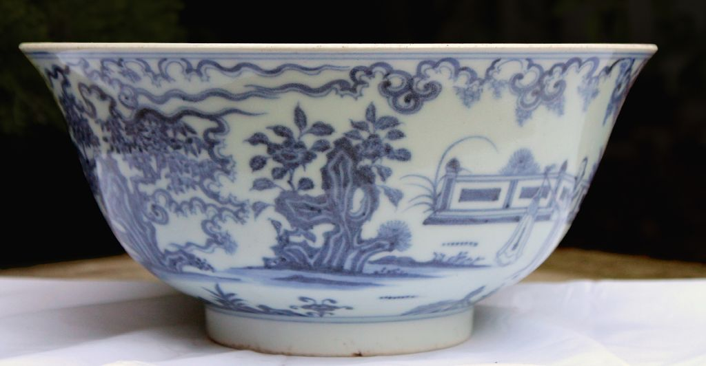 Antique Chinese Blue and White Porcelain Punchbowl Kangxi Mark