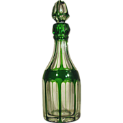 SALE Cut Glass  1850-70  Bohemian  Cologne / Perfume  Green Cut to Clear Overlay  OUTSTANDING