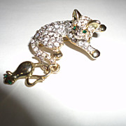 Vintage Rhinestone Cat & Mouse Pin Brooche