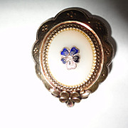 Vintage Pansy Goldtone Pin Brooche