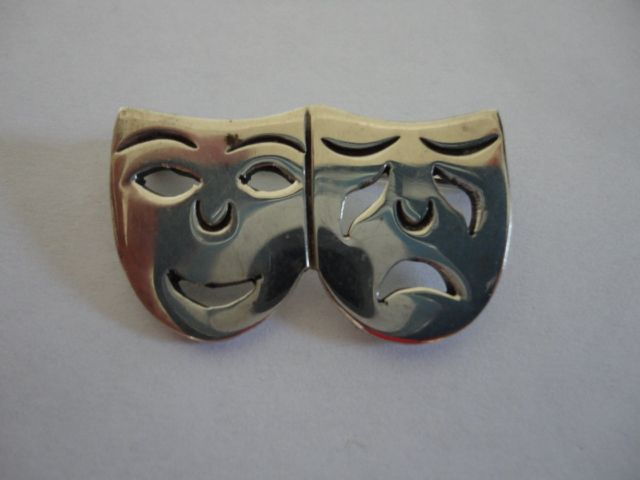 Vintage Sterling Silver Comedy Tragedy Mexico Pin
