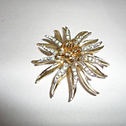 Vintage Coro Gold & Silver Tone Rhinestone Floral Pin Brooch