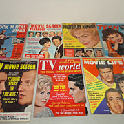 Elvis Presley Lot 7 Vintage Magazines Movie Life Rock 'n Roll Stars TV World