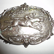 Vintage Silver Hunt Scene Jockey Racing Pin Brooche