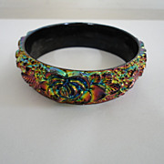 Vintage Celluloid Lustered Floral Rose Bracelet
