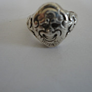 Vintage Silver Grotesque Smiling Face Ring