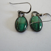 Vintage Sterling Malachite Earrings