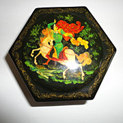 Vintage Black Painted Russian Lacquered Six Sided Hinged Box