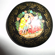 Vintage Black Painted Russian Pin Brooche