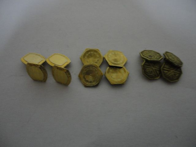 Vintage Lot 3 Sets Cuff Links