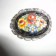 Vintage Oval Mosaic Pin Brooche