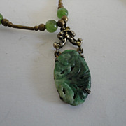 Vintage Carved Jade Pendant Necklace