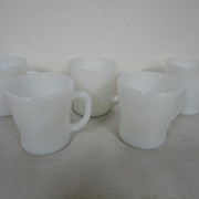 Vintage Lot 5 Ivory Anchor Hocking Mugs Coffee Cups