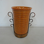 Vintage Bauer Ringware Ring Vase w Metal Frame Holder