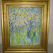 Vintage Impressionist Oil Painting w Gilt Frame Vieau Verger au Printemps