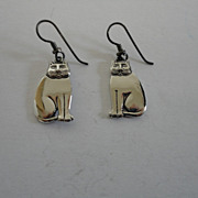 Vintage Laurel Burch Cat Pierced Earrings
