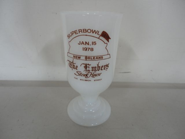 Vintage New Orleans 1978 Super Bowl Mug Milk Glass The Embers Steak House Bourbon Street