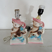 "Vintage Pair Beautiful Lane Co ""PUSS n BOOTS"" TV Lamps Light"