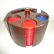 Vintage Catalin Poker Chips with Carrier