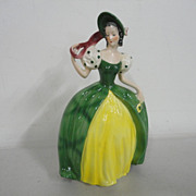Vintage Goebel Porcelain Art Deco Lady with Green Dress and Bonnet W Germany