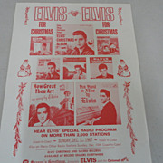 Elvis Presley 1967 Christmas Radio Program Flyer Promo