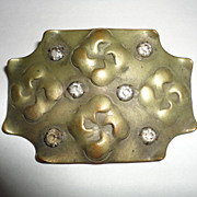 Vintage Arts & Crafts Brass Rhinestone Pin Brooche