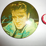 Elvis Presley 1956 Best Wishes Green Back & Go Man Button