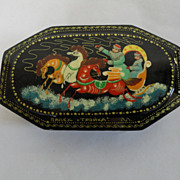Vintage Black Painted Russian Lacquered Signed Eight Sided Hinged Box