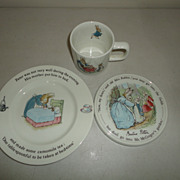 Vintage Wedgwood Beatrix Potter Peter Rabbit  Child's  Dish Cup & Plaque Trivet