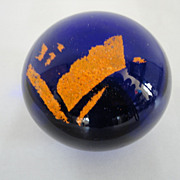 Vintage Orange On Blue Art Glass Paperweight