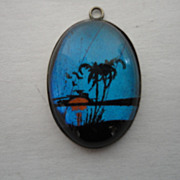 Vintage Reverse Painted Tropical Palm Tree Charm Pendant