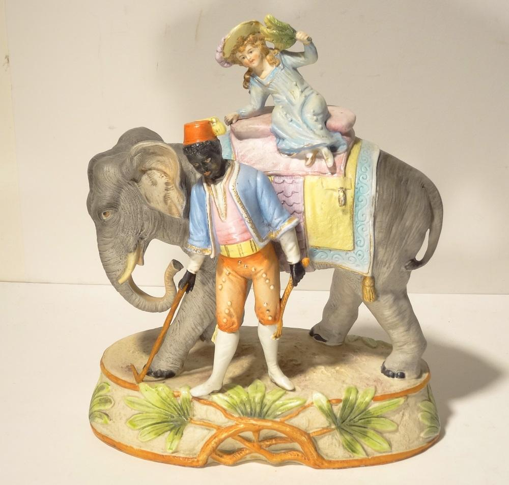 c1910 Bisque Porcelain Elephant Group by Kister Germany