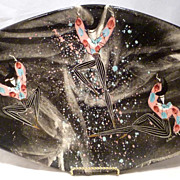 Huge 1950s Marc Bellaire Mardi Gras Footed Oblong Tray