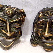 SALE Art Deco Bronze Comedy & Tragedy Plaques / Masks