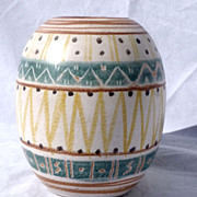 SALE 1951 Michael Andersen Denmark Hand Painted Art Pottery Vase