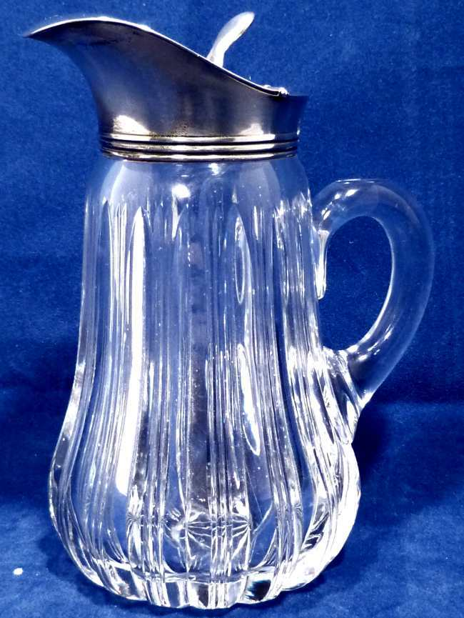 Antique Cut Glass Syrup Pitcher With Sterling Lid From
