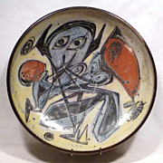 REDUCED Mid-Century Abstract Spaceman Pottery Bowl Kastrup Denmark