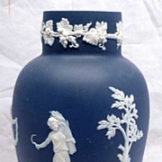 REDUCED c1900 Adams Jasperware Four Seasons Blue & White Vase