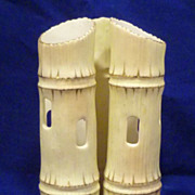 c1900 Locke & Co. Worcester Triple Faux Bamboo Porcelain Vase
