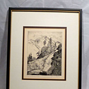 "LYMAN BYXBE Listed Colorado Artist 1930s Etching pencil signed ""Trail To Dream Lake"""
