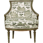 French Louis XVI Arm Chair with Green Painted Surface, Antique c. 1890-1910