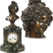 "French School Antique Bronze Sculpture & Marble Mantel Clock, ""De Lebroue"" Mid 19th Century"