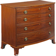 American Federal Inlaid Mahogany Bowfront Chest of Drawers, Mid-Atlantic States c. 1790-1810
