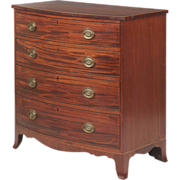 American Federal Bowfront Chest of Drawers, Inlaid Mahogany, New England States c. 1810