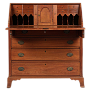 American Federal Walnut Slant Front Desk, Mid-Atlantic States c. 1790-1810