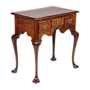 American Pennsylvania Chippendale Lowboy Antique Chest of Drawers over Trifid Feet, Walnut, c.