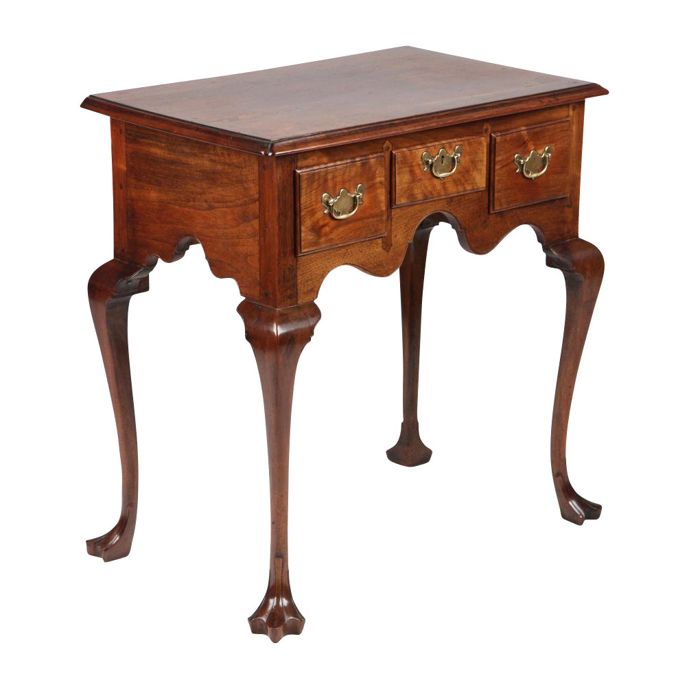 American Pennsylvania Chippendale Lowboy Antique Chest of Drawers over Trifid Feet, Walnut, c. mid-to-late 19th Century